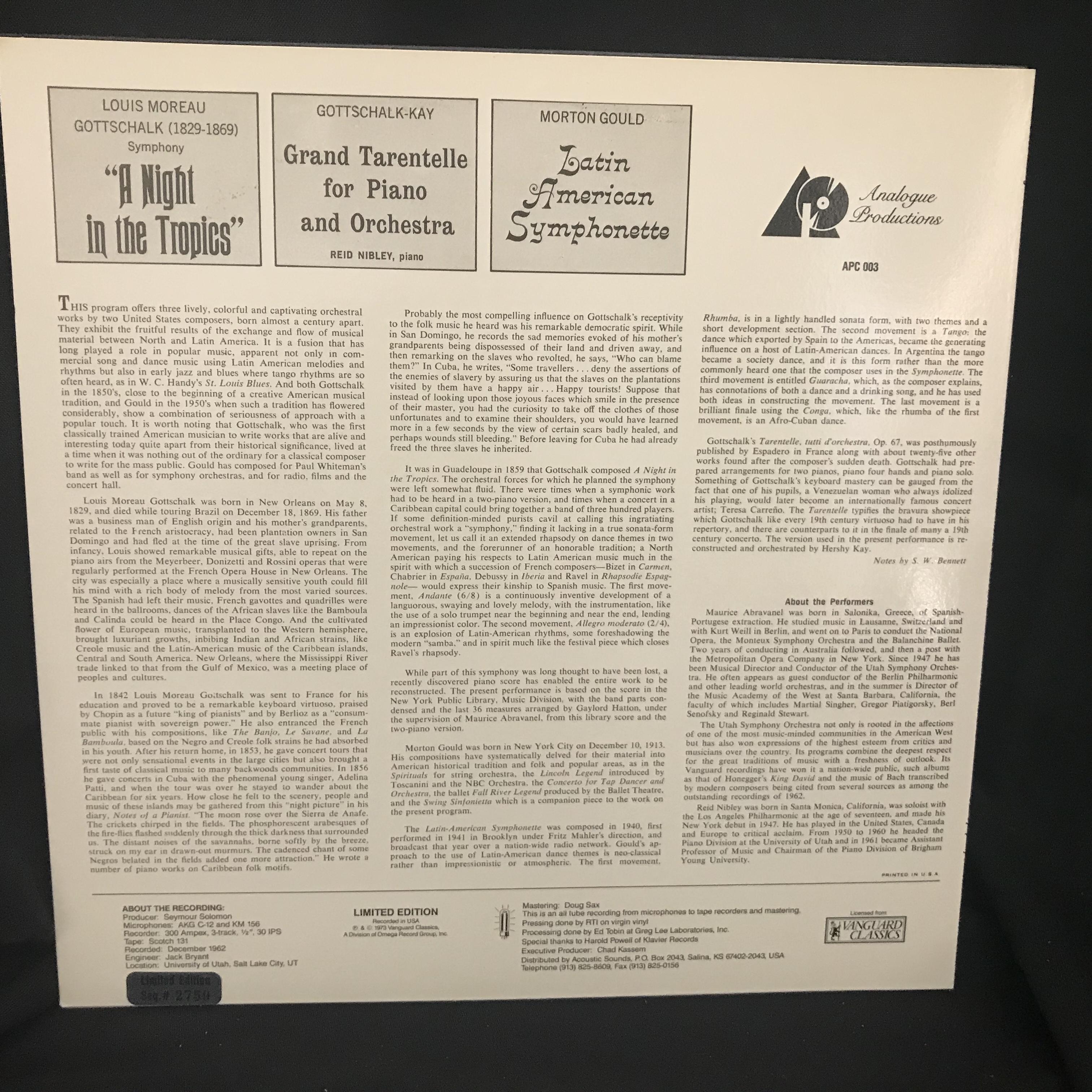 Gottschalk, Gould / USO / Abravanel - Tropics / Symphonette NM LP 199  Analogue Productions Audiophile Classical