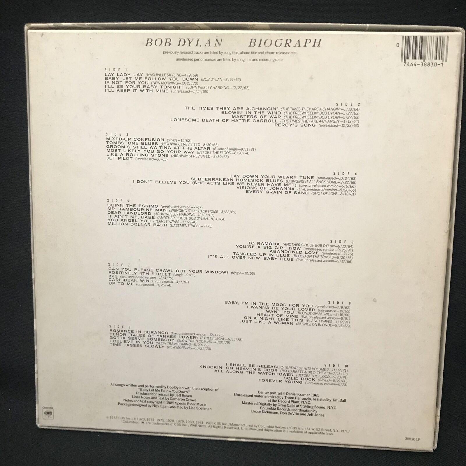 Bob Dylan - Biograph 5 LP NM Box Set 1985 Classic Folk & Rock